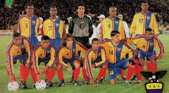 Formación de Ecuador ante Chile, amistoso disputado el 23 de junio de 1999
