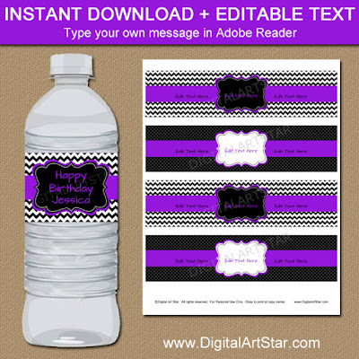 birthday water bottle labels in purple and black for a girl's birthday party