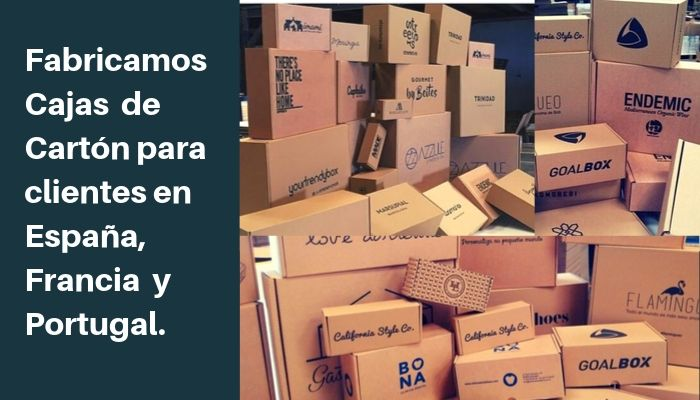 Fabricamos cajas de cartón para clientes en España, Francia y Portugal