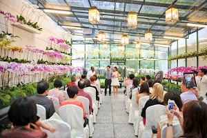 orchid flowers decorate the venue
