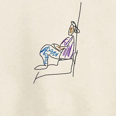 dibujo persona sentada en el tranco de la puerta. pepa de los mares.