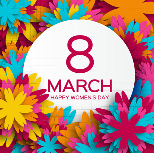 Women's Day 8 March holiday background with paper flower free vector