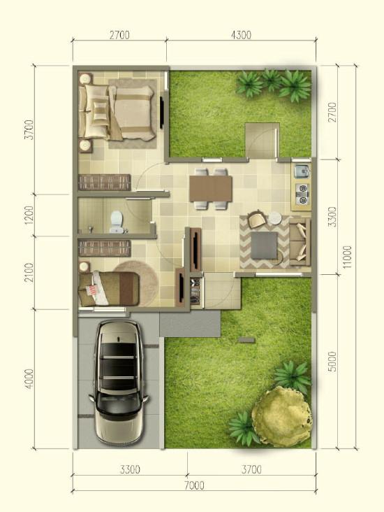 Contoh Denah Rumah Minimalis Type 54  lingkar warna denah rumah minimalis ukuran 7x11 meter 2