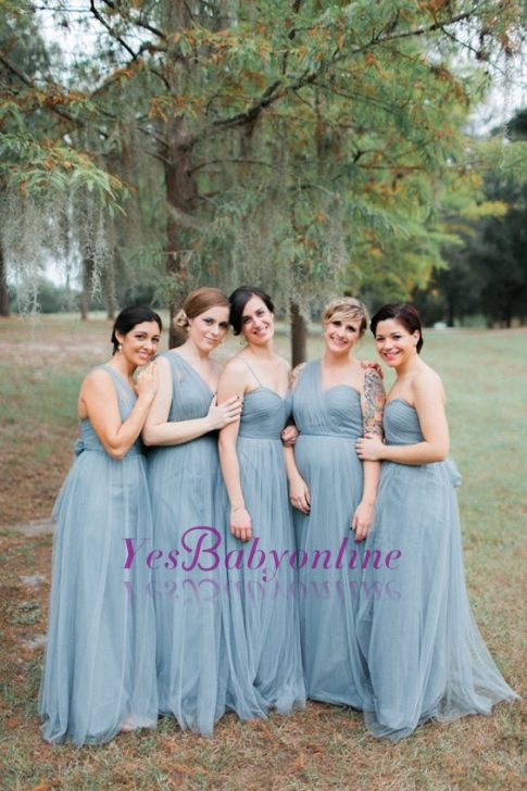 Blue Sleeveless Long Fashion Tulle Bridesmaid Dresses- Factory price: US $119.00