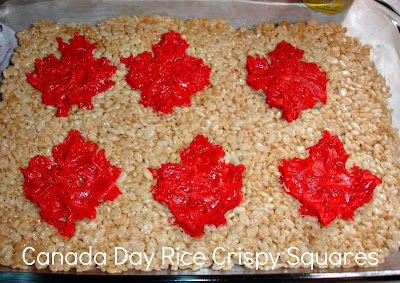 Canada Day Rice Crispy Squares