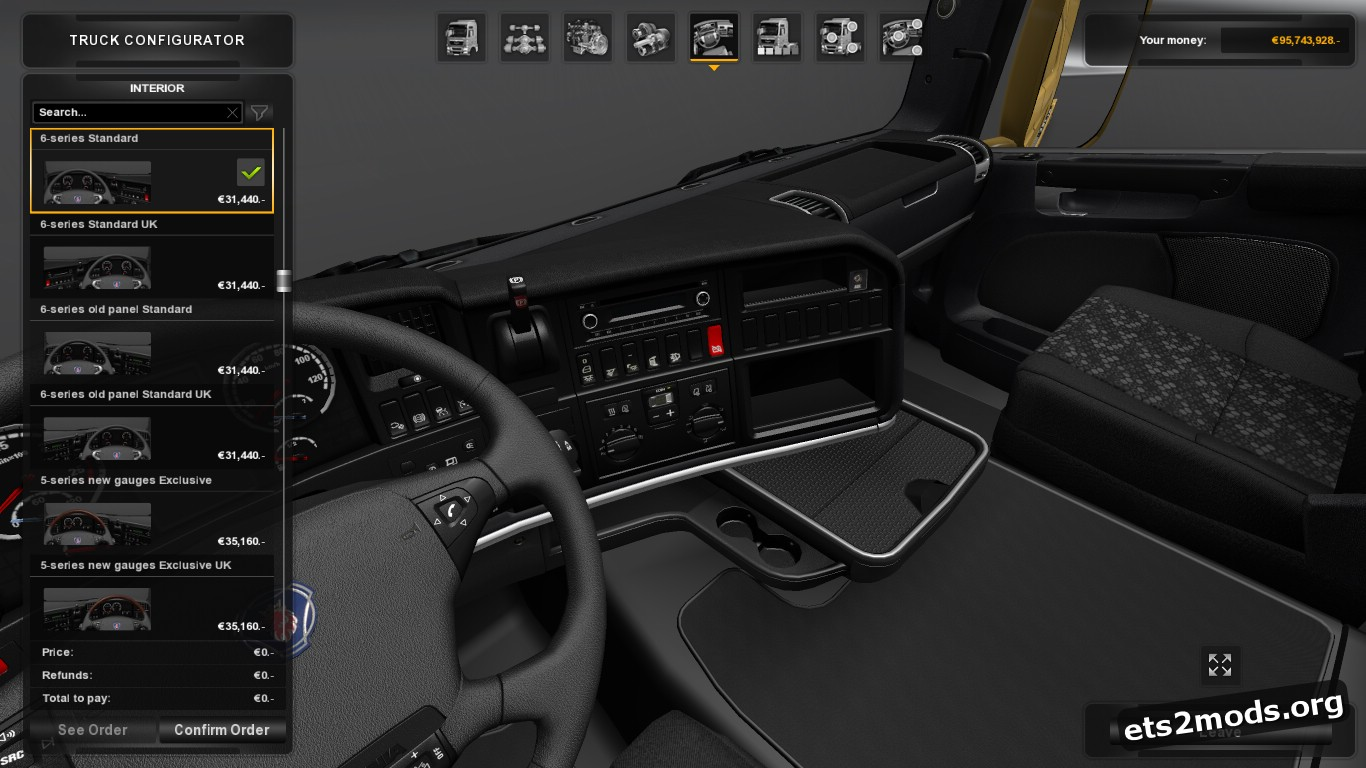 Black Interior Pack for Scania R, T & RJL