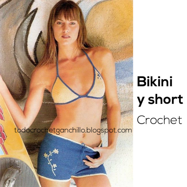 Bikini + short tejidos con ganchillo paso a paso