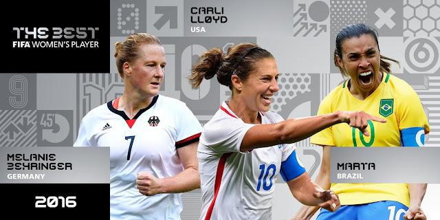 Melhor jogadora do Mundo 2016: Marta, Lloyd e Behringer são as finalistas