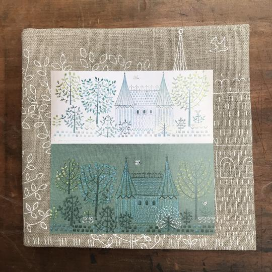 Fairy Tale Castle printed fabric by Linladan, as featured by floresita on Feeling Stitchy