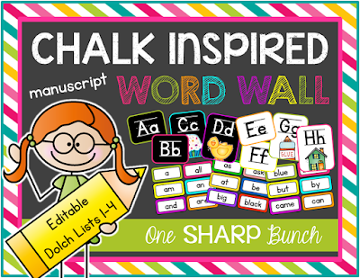 Add some spunk to your classroom decor with a chalk inspired word wall! Includes dolch lists 1-4, color and number words, plus an EDITABLE page and color coded words for easy identification! Printer friendly option also available!