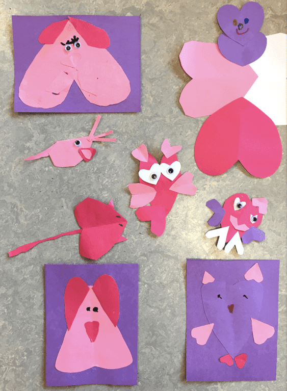 Paper Valentine Critters made by first grade students. GradeONEderful.com
