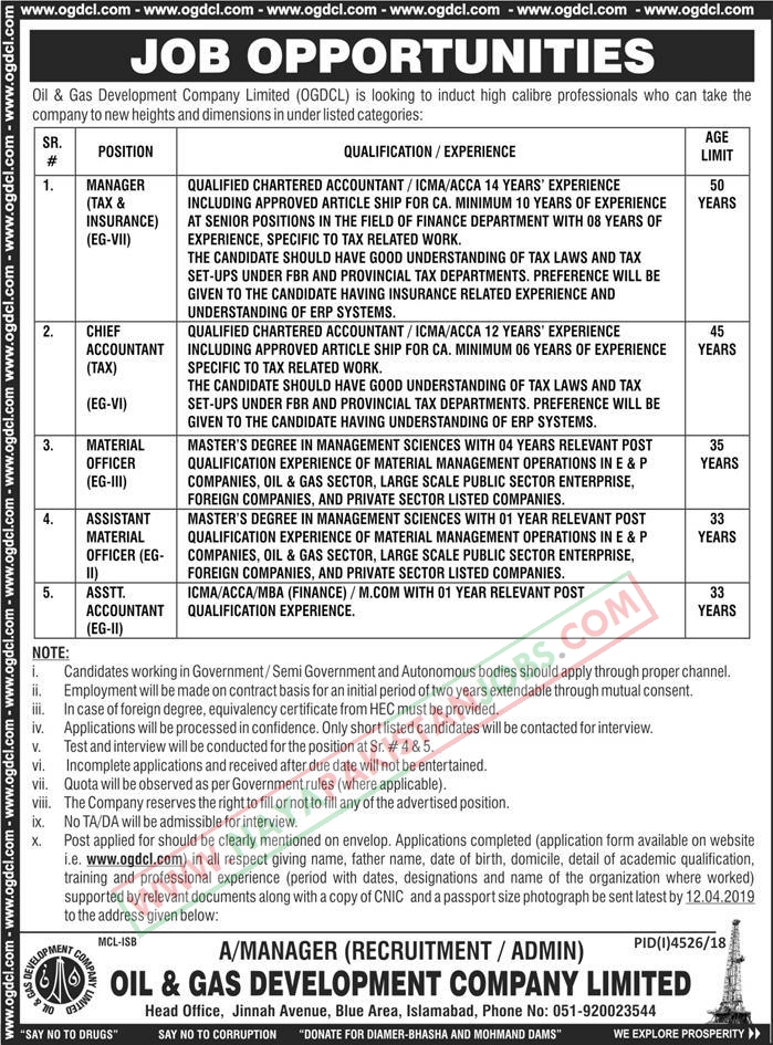 OGDCL Latest Jobs 2019 Oil And Gas Development Company