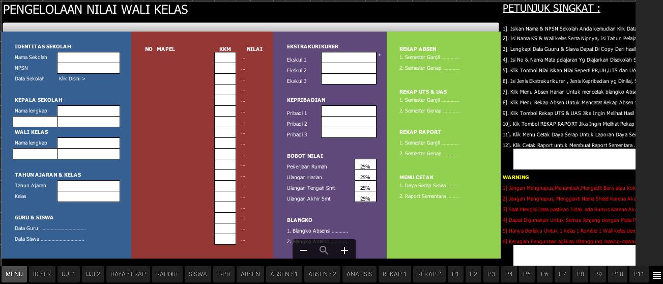 Aplikasi Penilaian Kurikulum 2013 SD Edisi Revisi Berbasis Excel