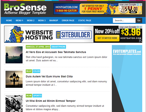 BroSense Responsive Blogger Template