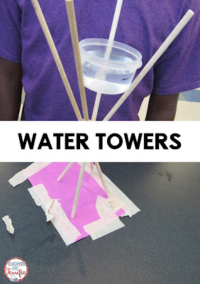 STEM Challenge! Water towers are so fun to build, but the best part is testing them! Will that water container stay in place or splash?