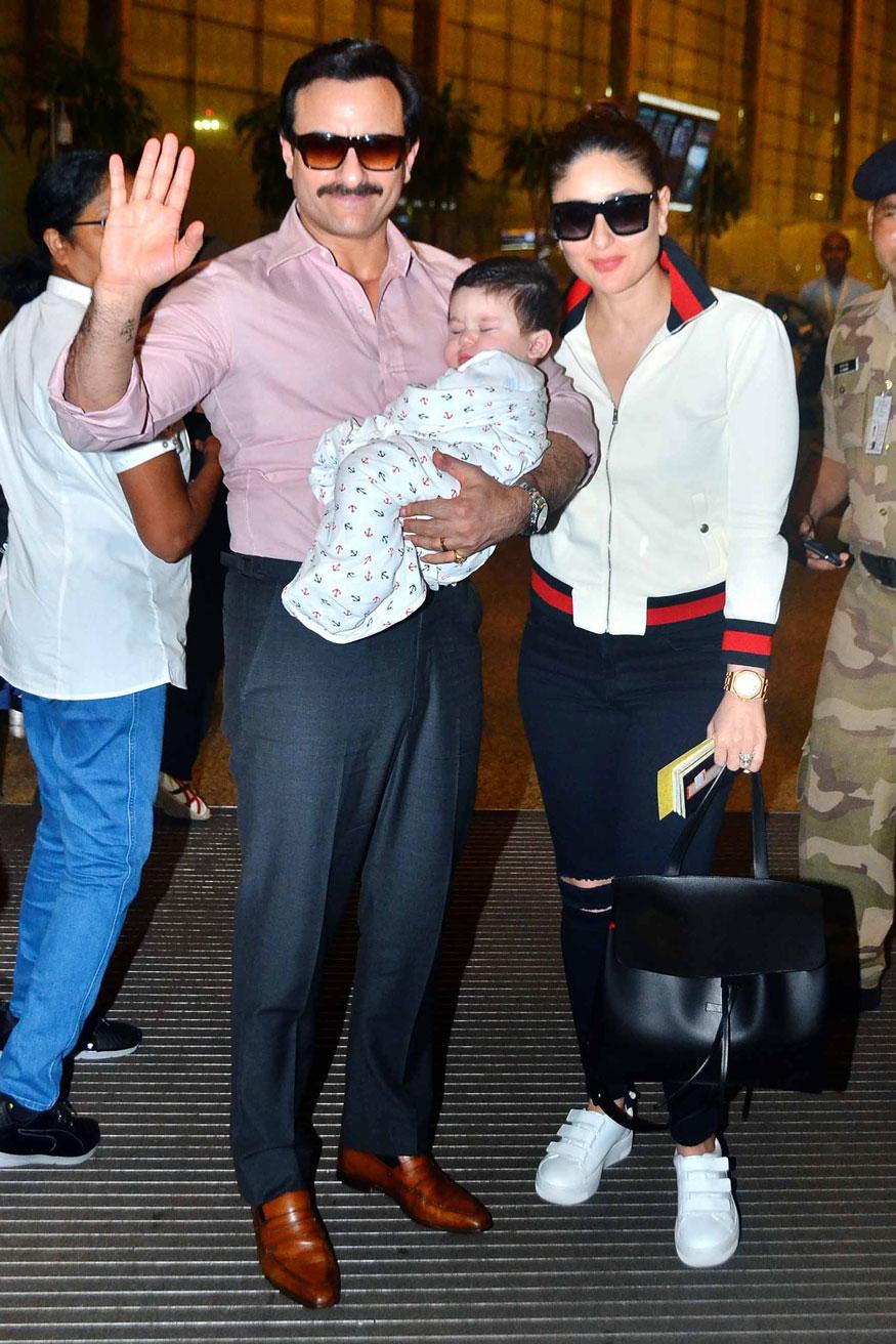 Kareena kapoor, Saif Ali Khan with son Taimur at Mumbai Airport