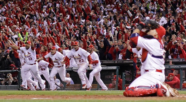 The 2011 Cardinals celebrate the World Series victory.
