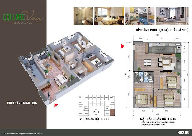 Căn hộ 05, diện tích 105m2 - 3 phòng ngủ
