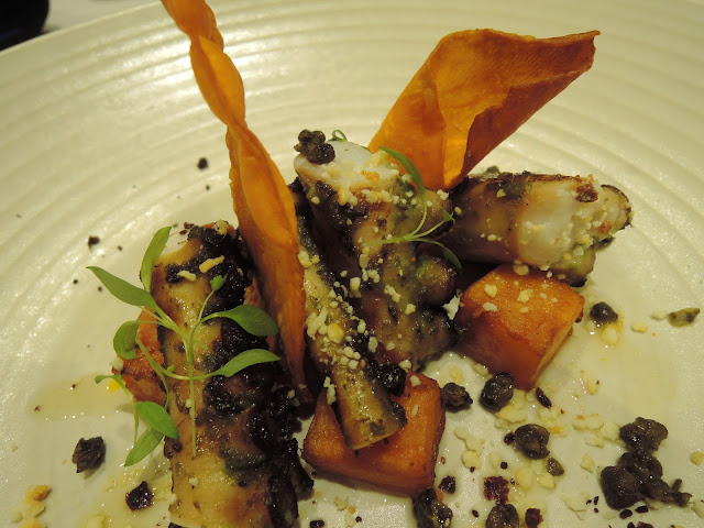 chargrilled octopus, kumara, feta, capers and smoked citrus