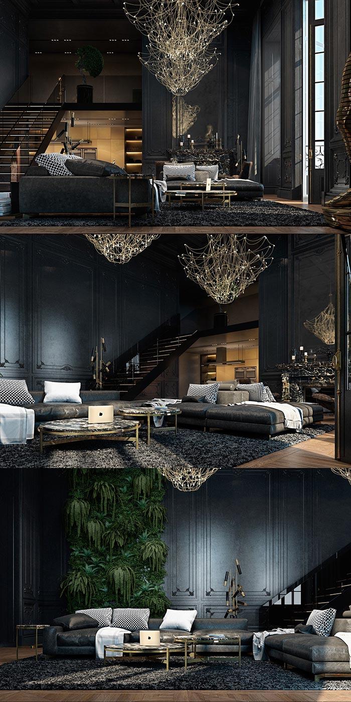 lüks ve zengin siyah oturma odası modeli