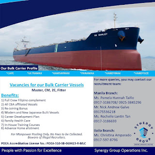 Job vacancies for seaman work at bulk carrier vessels joining oct-nov-dec 2018