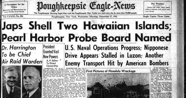 Poughkeepsie Eagle-News headlines, 17 December 1941 worldwartwo.filminspector.com