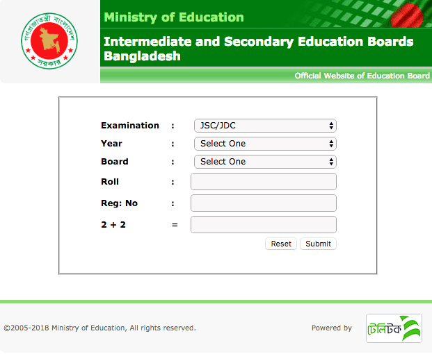 JSC Result 2018 View by Internet