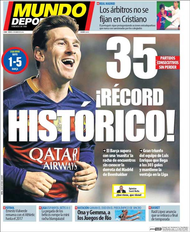 Portada Mundo Deportivo: ¡Récord histórico!