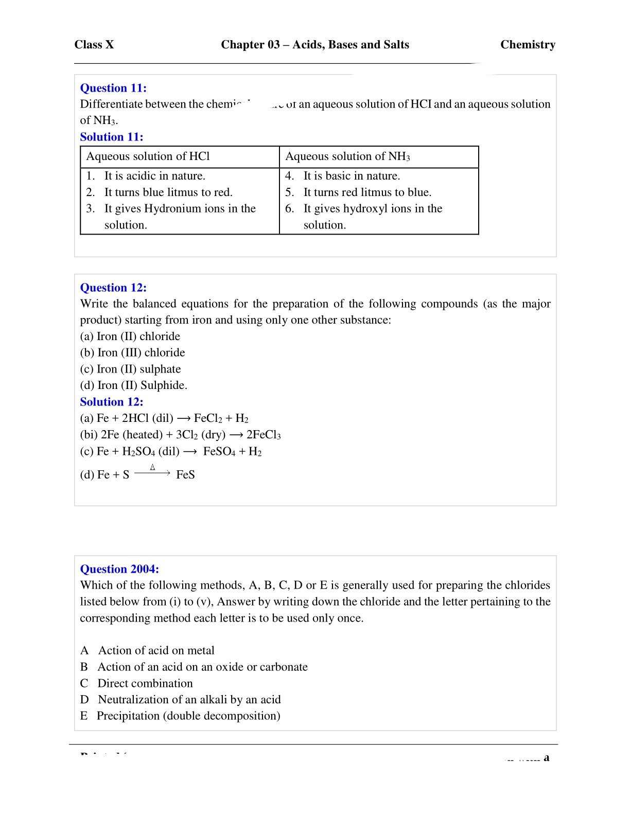 Concise Chemistry Class 10 Icse Chapter 3 Acid Base And