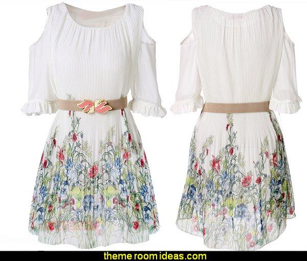 Stylish Lady Women Fashion Off-shoulder Short Sleeve O-Neck Mini Loose Summer Dress