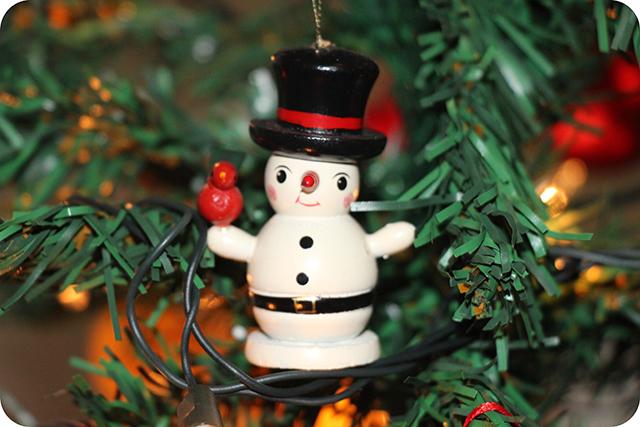 Decoração da Árvore de Natal : Boneco de Neve de Madeira