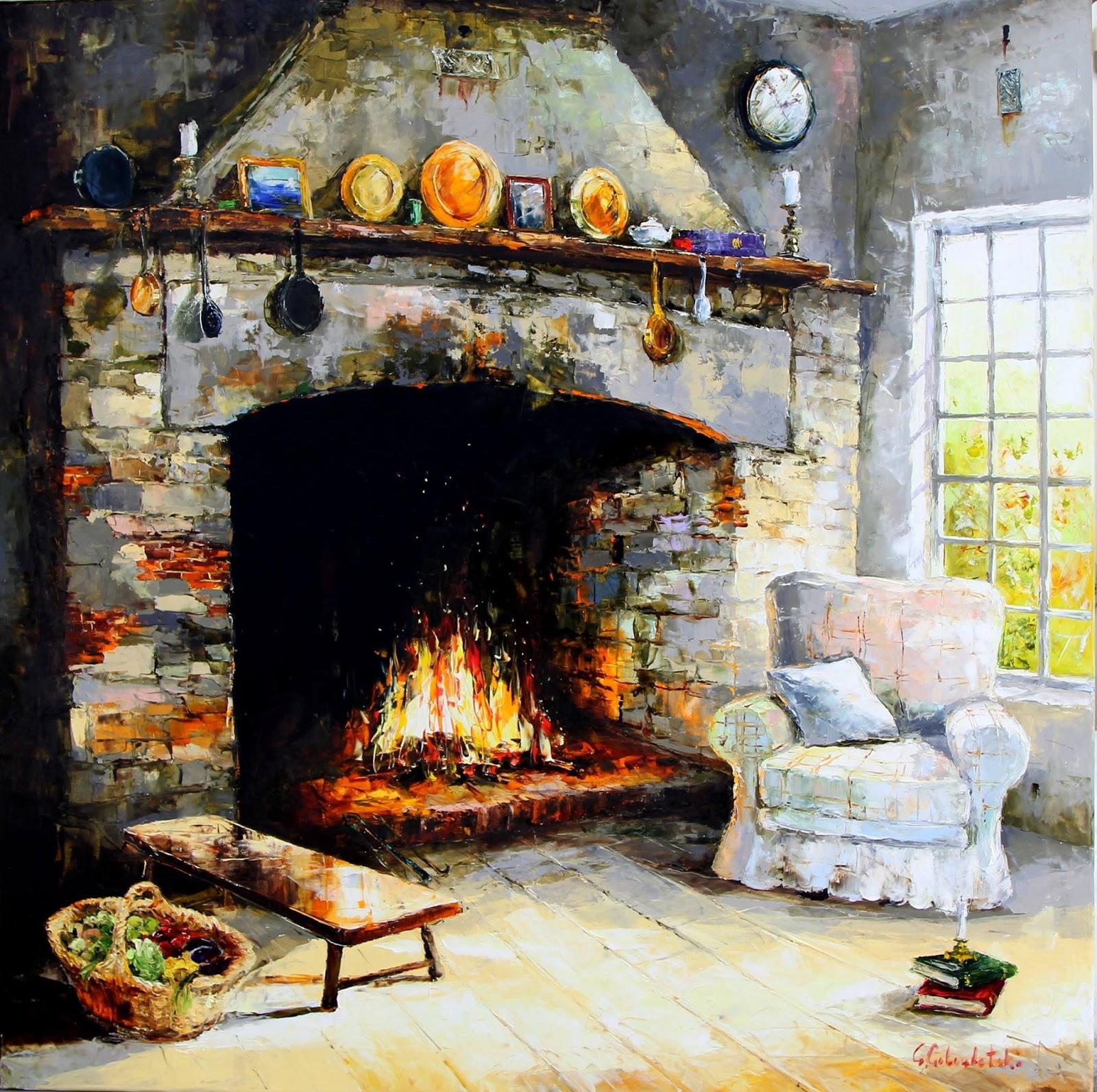 Gleb Goloubetski Fireplace in country house