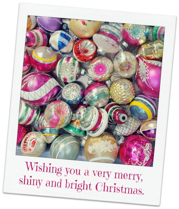 Vintage ornaments and Merry Christmas wishes from My Salvaged Treasures