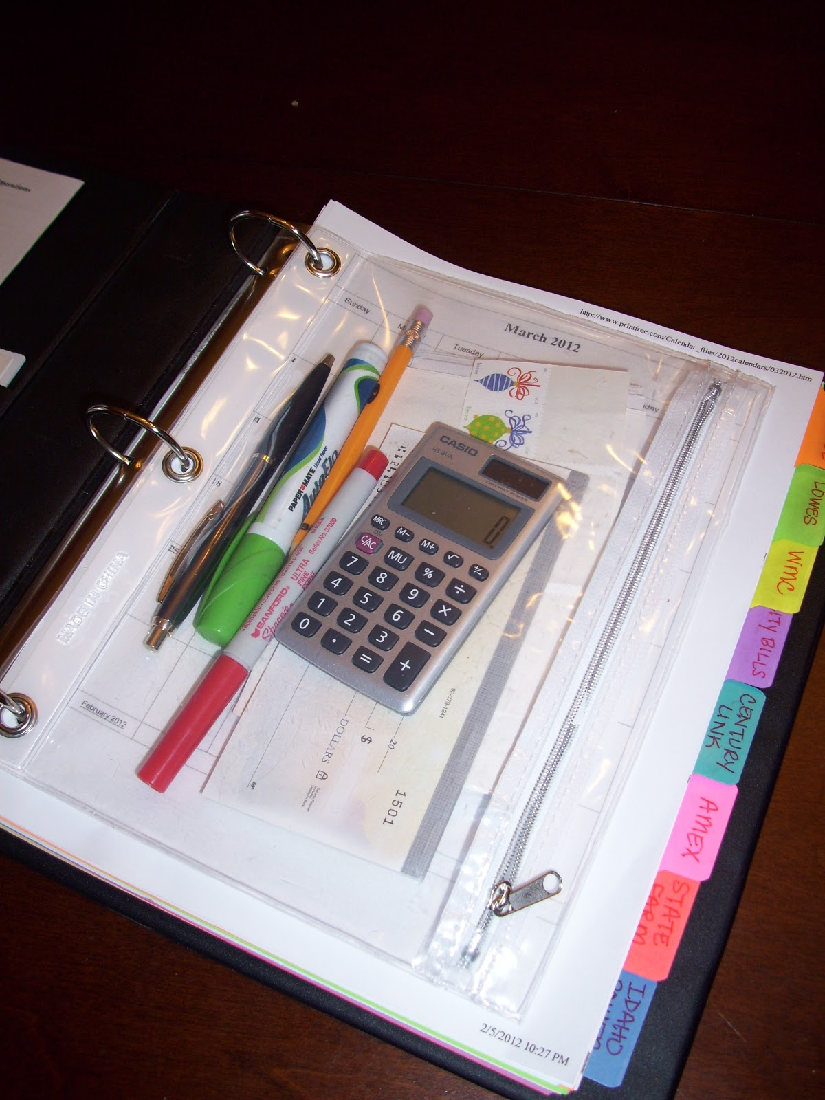 She Who Makes: She Organizes: Bills Binder