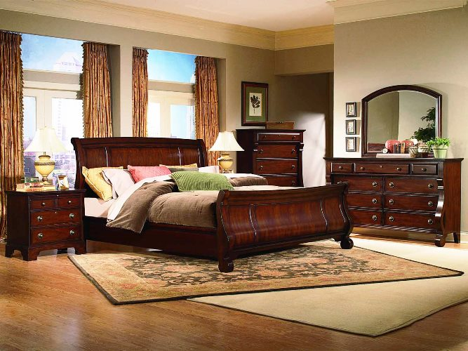 Dark Cherry Wood BEDROOM FURNITURE Elegant Design Ideas for ...