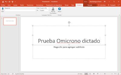 Dictate con el uso de PowerPoint