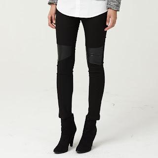 Black Leather Patch Pants Mindbridge