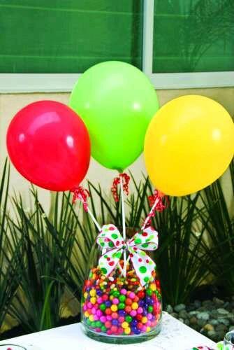 M s y m s manualidades crea bellos centros de mesa con globos - Llenar globos con helio ...
