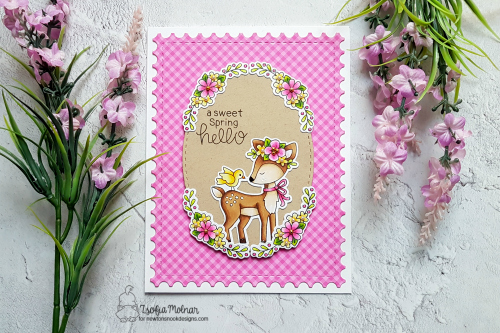 A Sweet Spring Deer Card by Zsofia Molnar | Woodland Spring Stamp Set by Newton's Nook Designs #newtonsnook #handmade