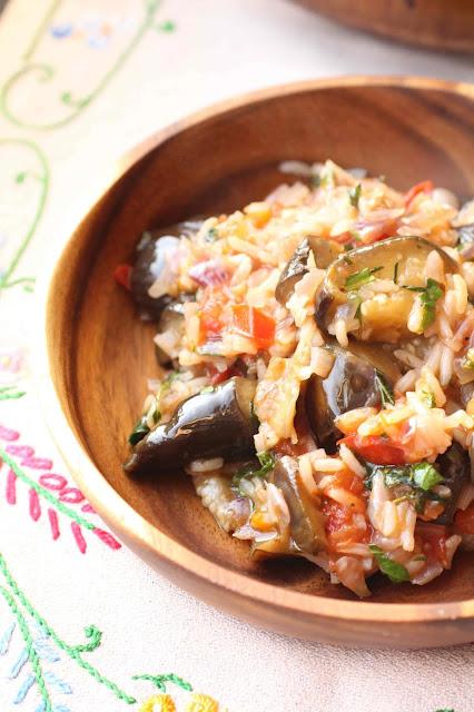 riz pilaf grece aubergines oignons