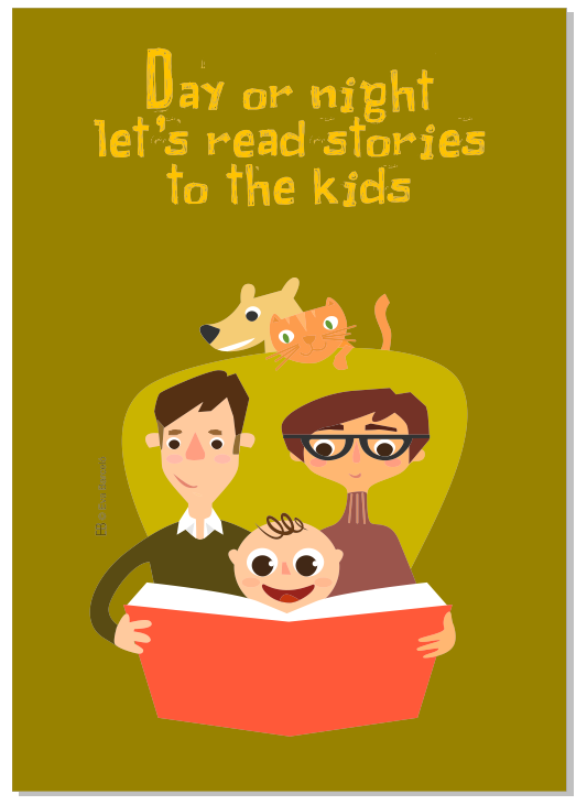 Day or night let's read stories to the kids - Kides decalogue to read stories