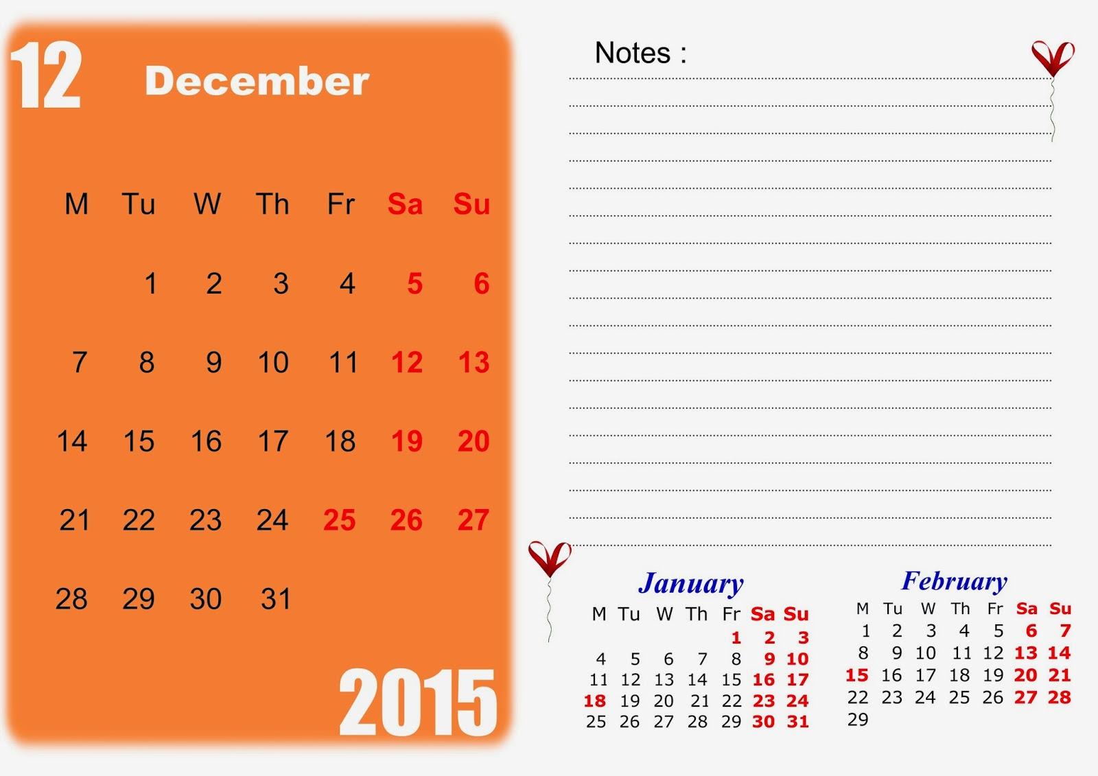printable december 2015 calendar template
