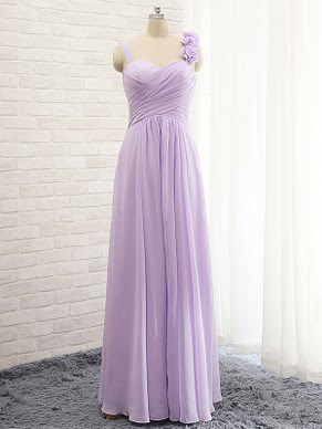 Elegant A-line Sweetheart Chiffon with Flower(s) Lavender Bridesmaid Dresses