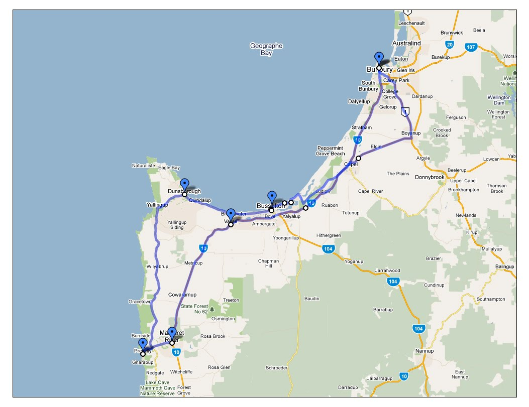 Capelwood Rides: 249Km, Bunbury to Busselton, Prevelly