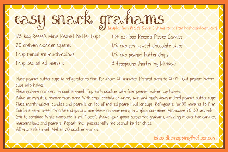 Easy Snack Grahams with Reese's Candy {and cute printable recipe card}
