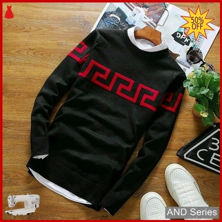 AND361 Sweater Pria Labirin Hitam Merah Maroon BMGShop