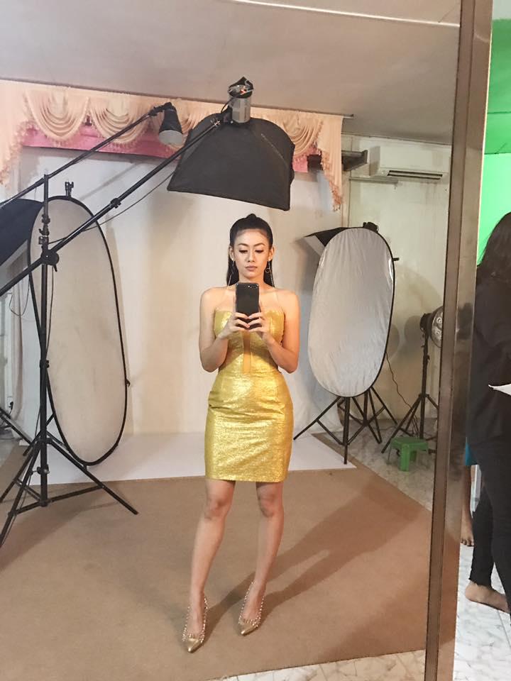 Thinzar Wint Kyaw Golden Dress Style Fashion Photoshoot With Paing Takhon