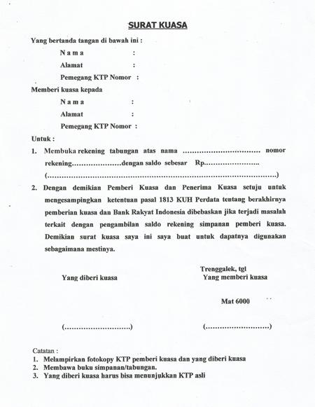 contoh surat kuasa pengambilan uang di bankbri