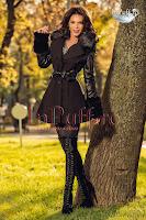 Palton dama negru maneci piele ecologica (Atmosphere)