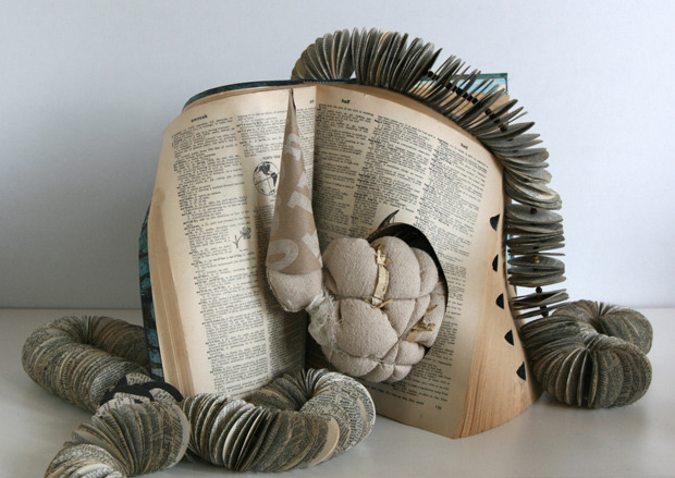 Contemporary Art piece made with books and cloth